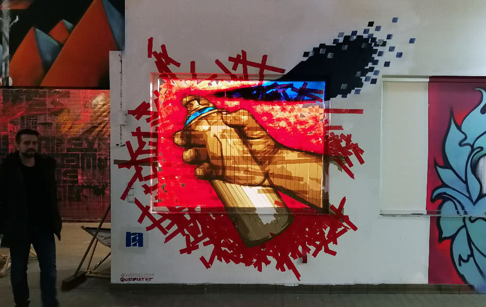 Spray Can-packing tape installation art- Wandelism- Ostap Artist 2018
