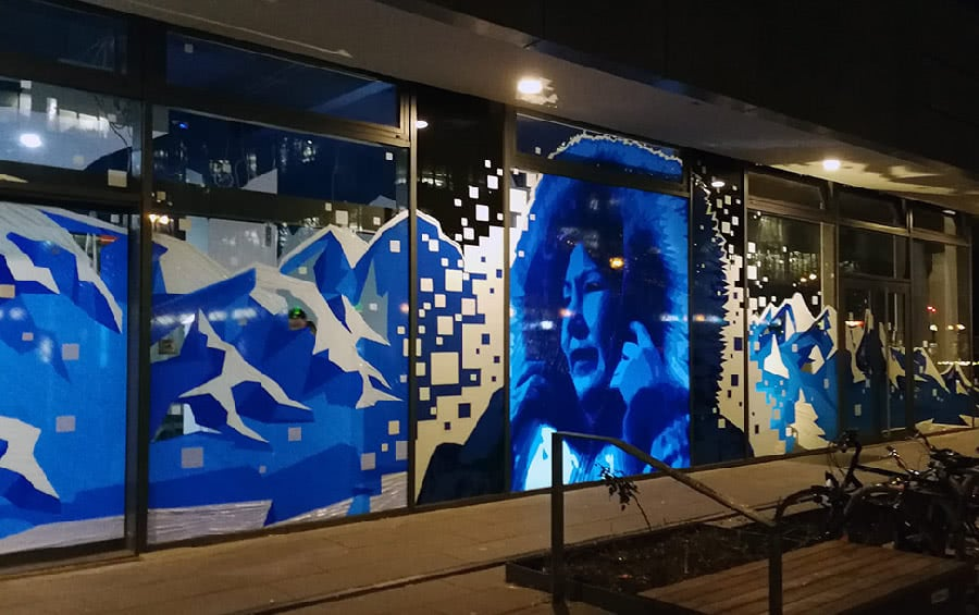 Blue Street- Packaging Tape Art Eskimo Woman Portrait