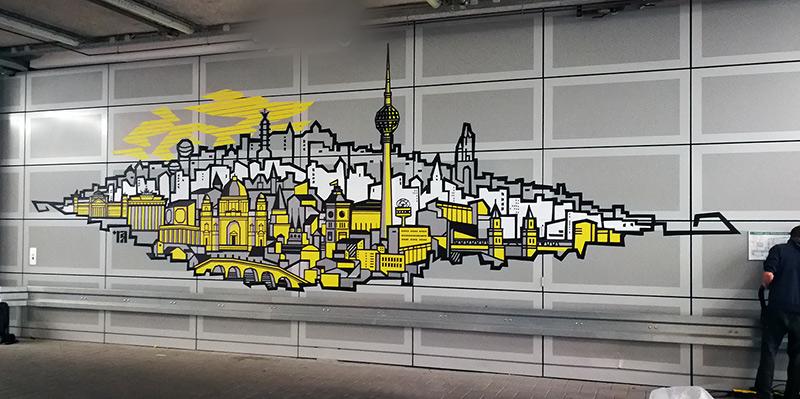 Tape art by Selfmadecrew for German National Bank in Berlin