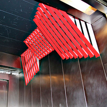 3d geometric, abstract duct tape installation