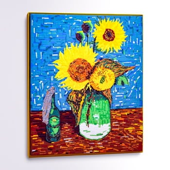 Sunflowers-(feat Van Gogh)-duct tape painting- featured image