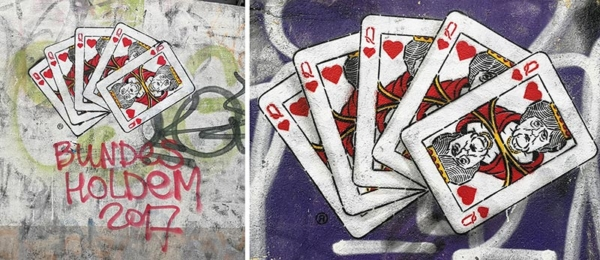 5 Playing cards queen of hearts- Angela Merkel, Stencil street art by Ostap, 2017