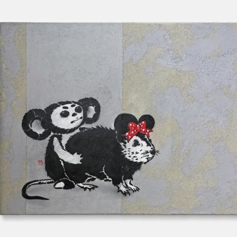 cheburashka vs banksy rat- Stencil spray art on canvas, 2011-2019