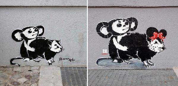 Cheburashka vs. rat series, 2013-2018, Stencil, Spray paint