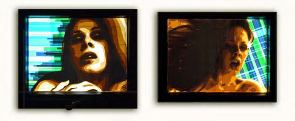 FAQlove (Diptych), 2013, Packing tape, hinged window lightbox, 55x70 and 50x70