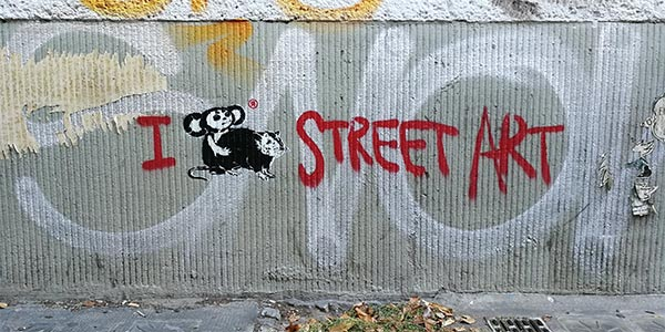 Loving street art, Cheburashka vs. rat series, 2018, Stencil, Spray paint