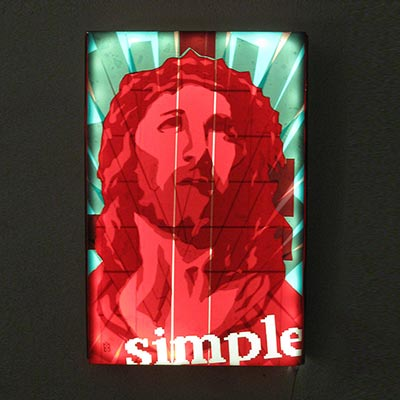 Jesus Pop Art Portrait, 2013, Packing tape on Lightbox