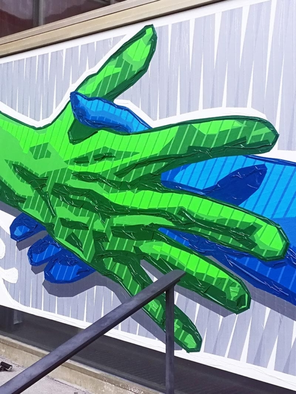 The Hand Reaching (Handshake)- finished duct tape artwork- Close-up 01