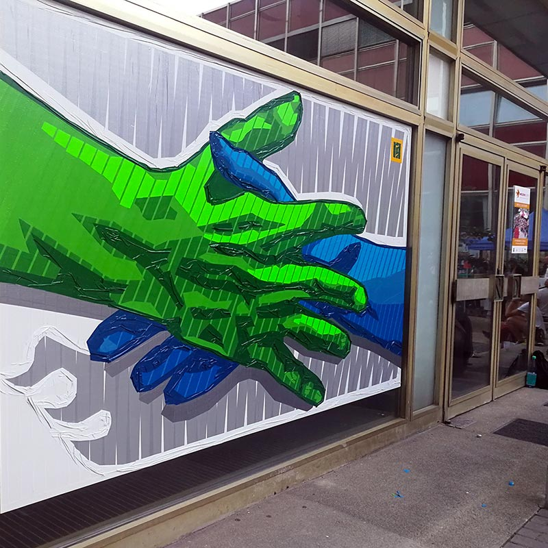 An outstretched hand- symbol of helpfulness- Duct tape artwork,after 7 hours of life taping